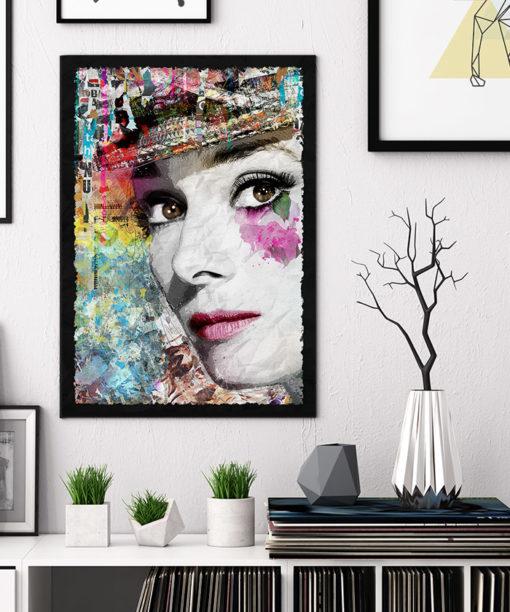 tableau collage pop art Audrey Hepburn