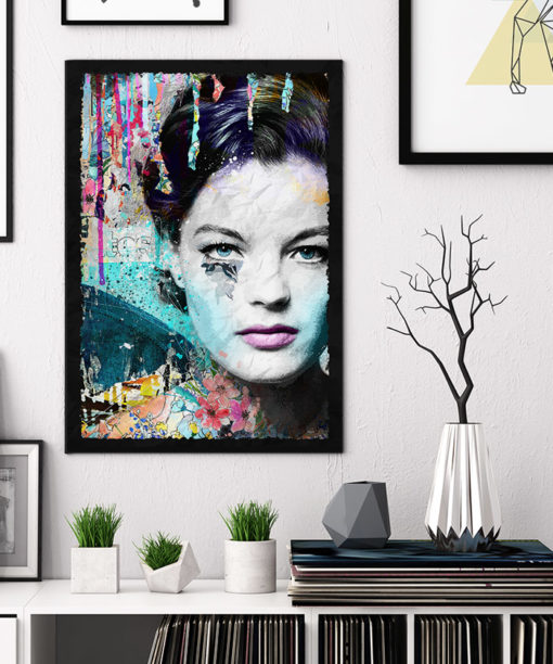 tableau collage pop art Romy Schneider