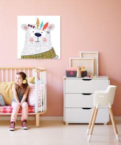 tableau chambre enfant ourson indien