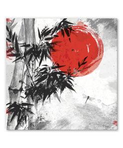 tableau deco asiatique paysage encre de chine et bambou
