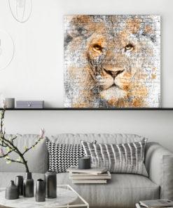 tableau deco lion aquarelle