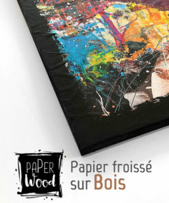 Tableau bois collage papier froissé