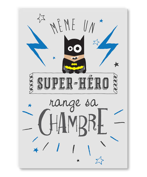 tableau chambre d'enfant citation super héros batman humoristique
