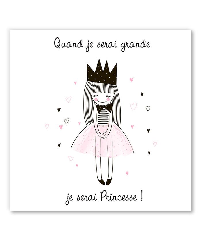 Tableau je serai une princesse tableau deco - Tableau chambre fille ...