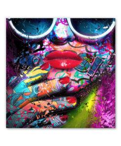 tableau deco pop art portrait femme lunettes