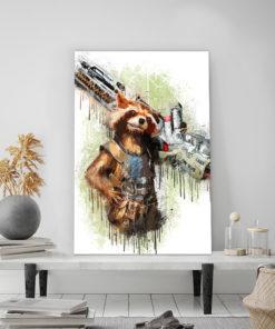 tableau déco super héros Rocket Raccoon des gardiens de la galaxie de marvel