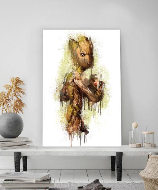 tableau déco super héros Groot des gardiens de la galaxie de marvel