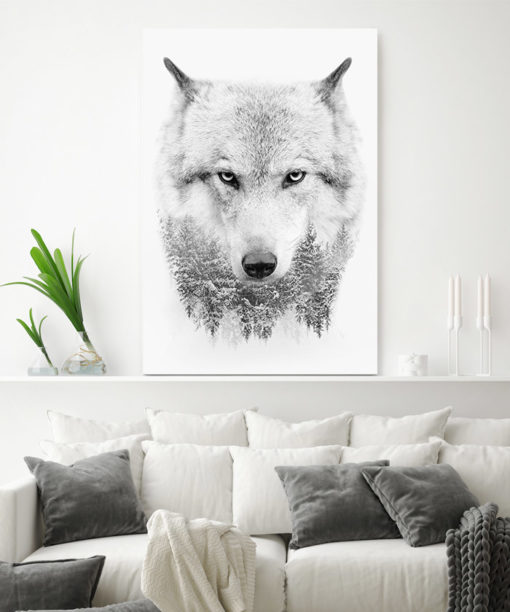 tableau deco loup noir et blanc scandinave