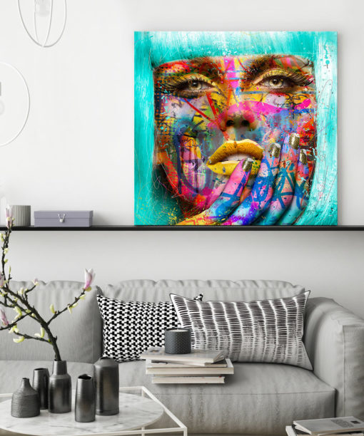 tableau portrait femme visage grafitti pop art
