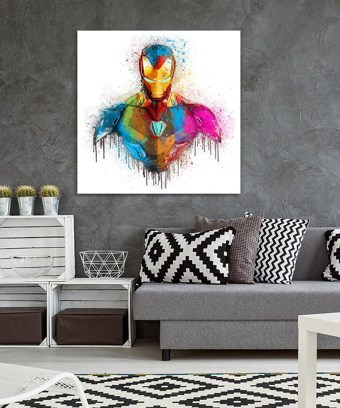 Tableau Iron Man Marvel Aquarelle - Tableau Deco