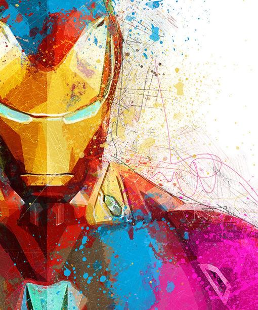 tableau deco iron man aquarelle