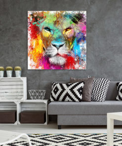tableau deco lion pop art