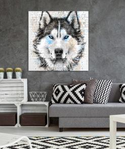 tableau deco loup aquarelle