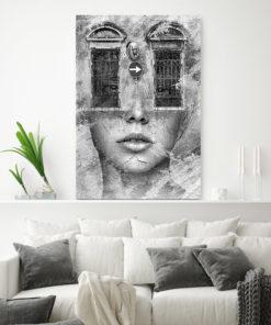 tableau portrait de femme noir et blanc