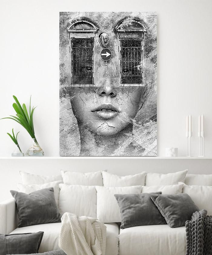 tableau d co portrait femme fen tres noir et blanc tableau deco. Black Bedroom Furniture Sets. Home Design Ideas