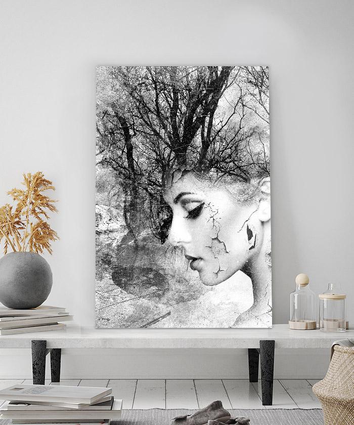 Tableau déco portrait femme branche - noir et blanc