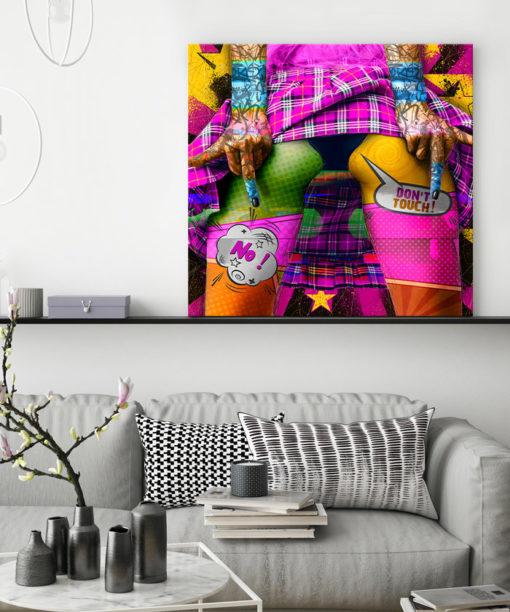 tableau deco pop art fesses colorées femme
