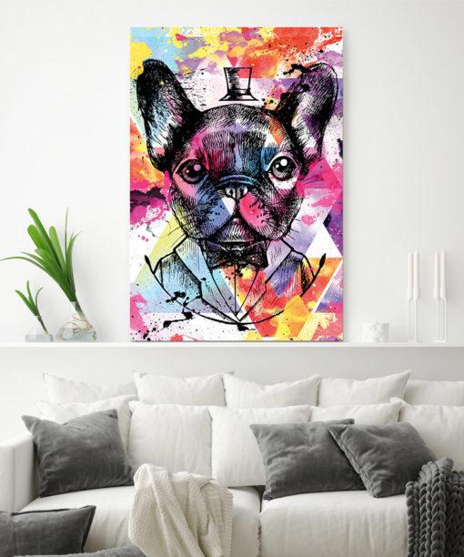 tableau-deco pop art street bulldog francais chien