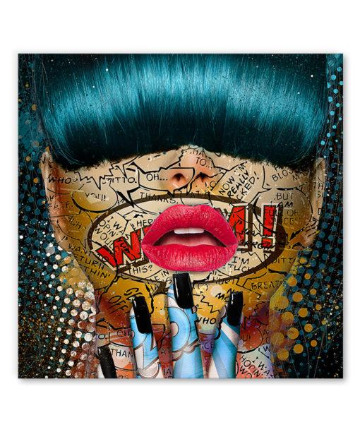 tableau portrait femme visage comics pop art