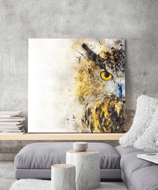 tableau portrait chouette aquarelle