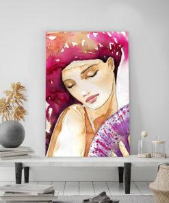 tableau deco portrait de femme aquarelle