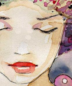 tableau deco portrait de femme florale aquarelle