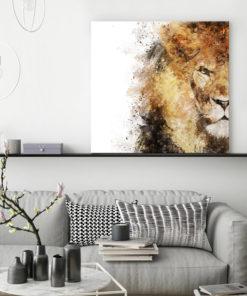 tableau portrait lion aquarelle