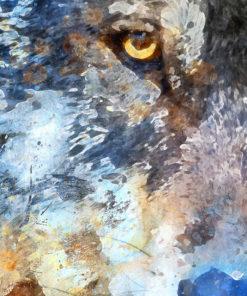 tableau portrait loup aquarelle
