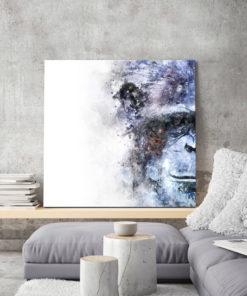 tableau portrait singe aquarelle