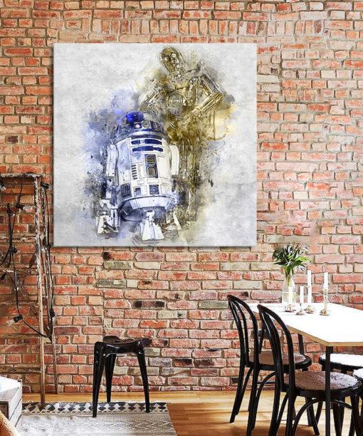 tableau deco stars wars R2d2 et Sispo