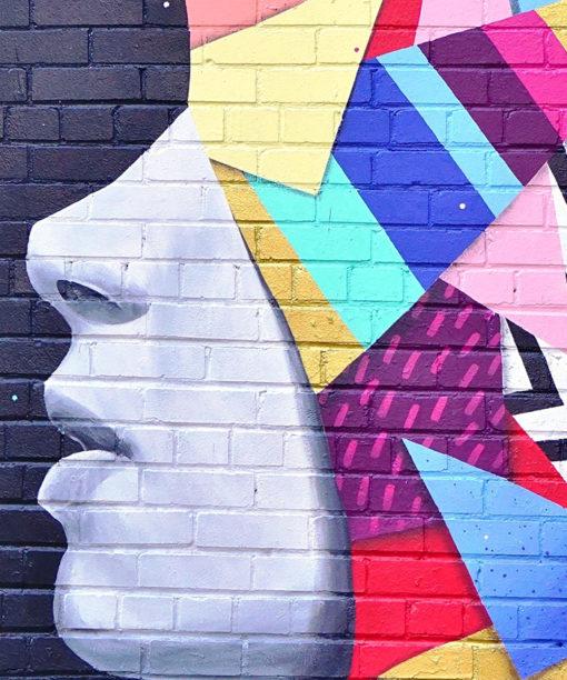 tableau deco street art portrait géométrique