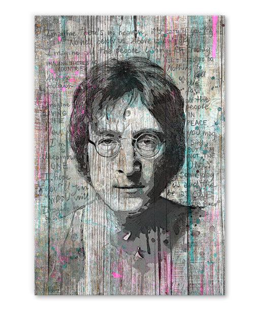 tableau vintage John Lennon effet bois