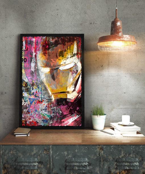 tableau collage pop art iron man marvel