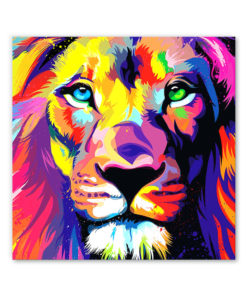 tableau lion multicolor pop art