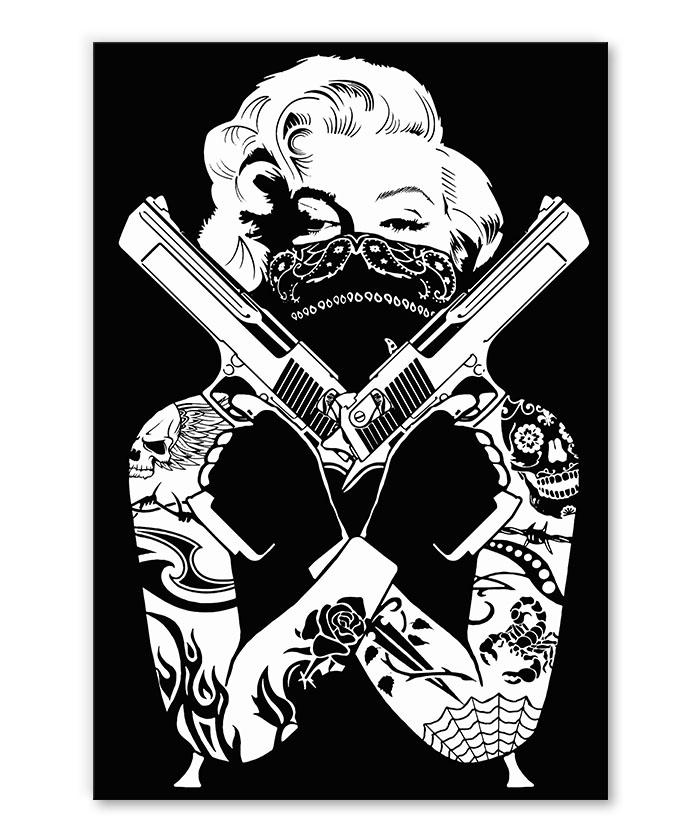 tableau Marylin Monroe Tattoo Guns pop art street