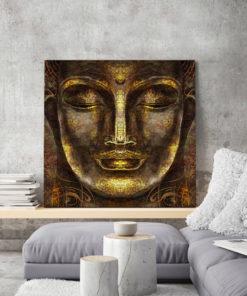 tableau mural décoratif zen bouddha doré méditation