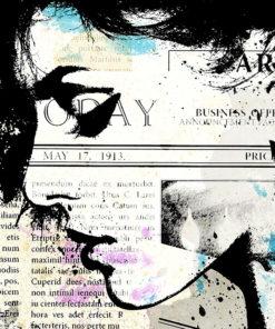 tableau vintage pop art portrait de femme vieux journaux