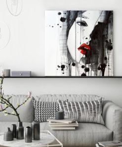 tableau portrait femme aquarelle noire