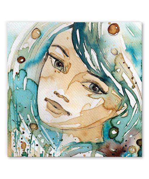 tableau portrait femme aquarelle turquoise