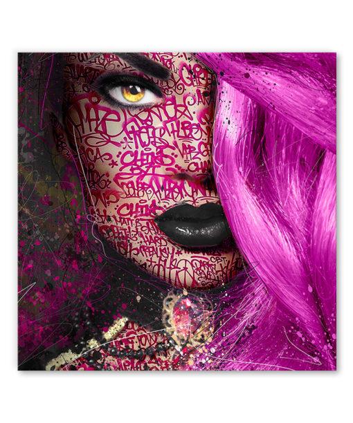tableau portrait pop art femme graffiti