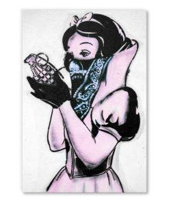tableau blanche neige et sa grenade street art