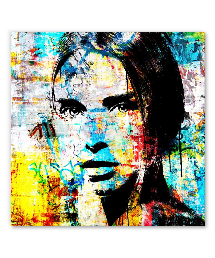 tableau portrait de femme pop street art graffiti