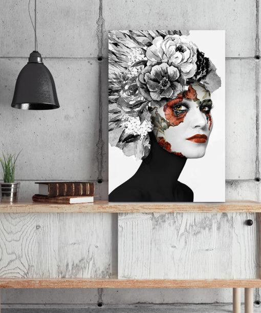tableau portrait femme florale noir et blanc