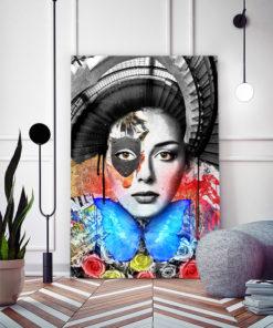 Tableau portrait de femme escalier Pop Art