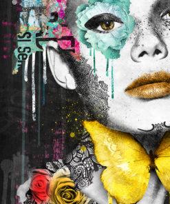 Tableau portrait de femme turquoise Pop Art