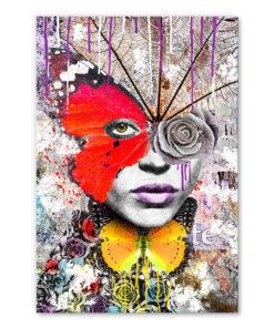 Tableau portrait street art Femme papillon sauvage