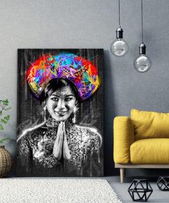 tableau portrait femme birmane asiatique street art
