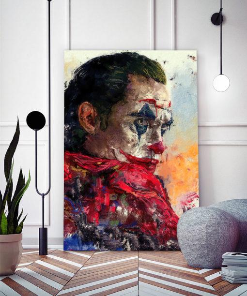 tableau portrait peinture impressionniste joker dc comics
