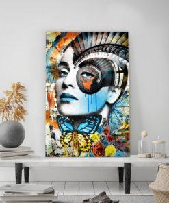 tableau portrait femme pop art spirale punk