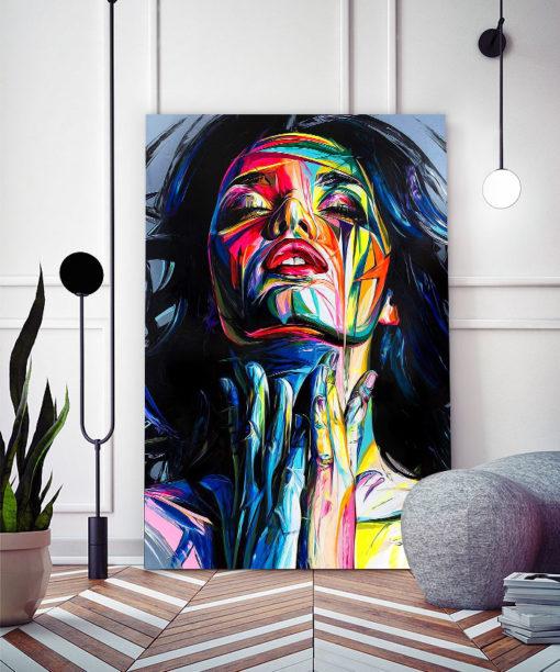 Tableau déco portrait femme peinture pop art